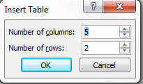 Number of columns and rows