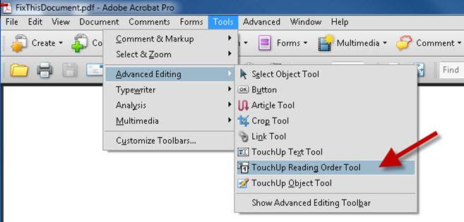 Touchup reading order tool
