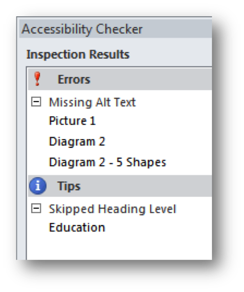 Accessibility checker in Word with a PC