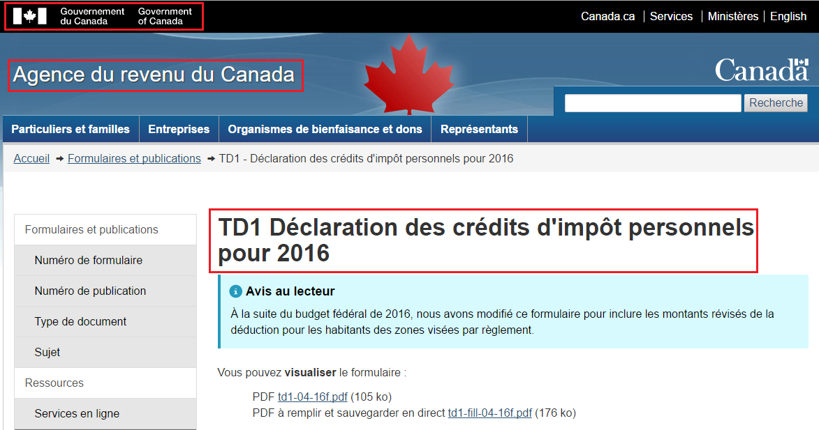 Canada revenue agency TD1 page
