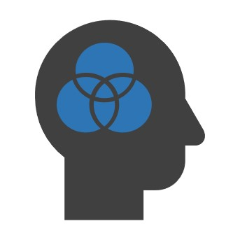 Icon with the profile of a head in which a Venn diagram appears
