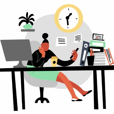 Illustration of a woman at a desk, looking at her phone ignoring her work and computer.