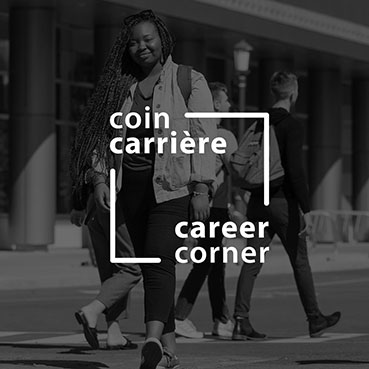 Career Corner - A student walking on campus.