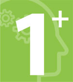 Step 1: Icon of a brain understanding information on a green background