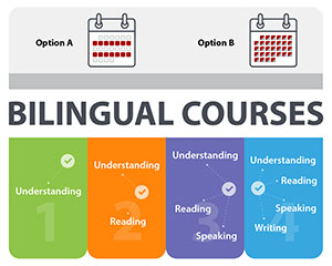 Bilingual courses in four steps with icons and calendars.Step 1 in green: understanding. Step 2 in orange: understanding; reading. Step 3 in purple: understanding, reading, speaking 	Step 4 in blue: understanding, reading, speaking, writing. Option A: a calendar with a week out of two highlighted in red. Option B: a calendar with every session divided in two, with one part highlighted in red