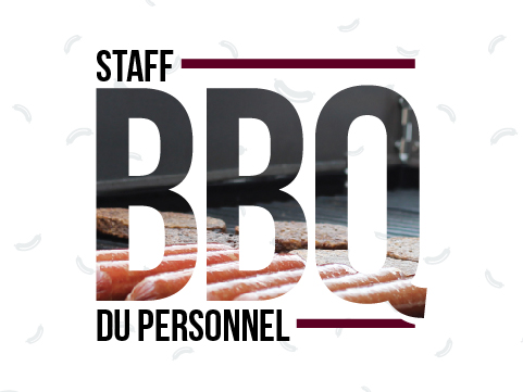 Staff barbecue logo. Sausages and beef patties cook on a barbecue.