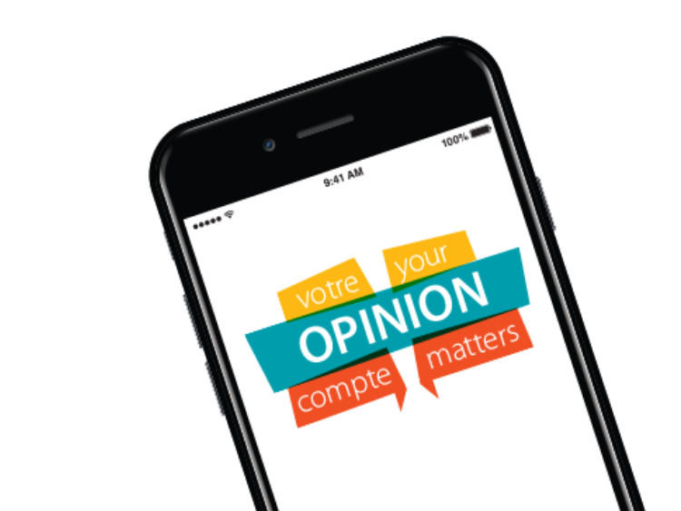 """The words """"Your Opinion Matters"""" displayed on a cellphone."""