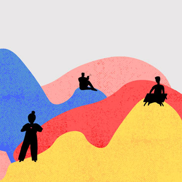 Illustration representing multicoloured mountains and scattered silhouettes of four people.