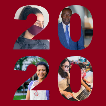 The numbers 2020 in which appear photos of members of the university community.