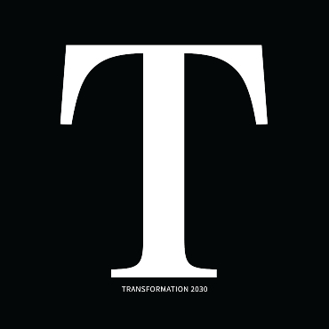 Logo of the strategic plan, white on a black background: the letter T in large format and the inscription Transformation 2030 in small characters below.