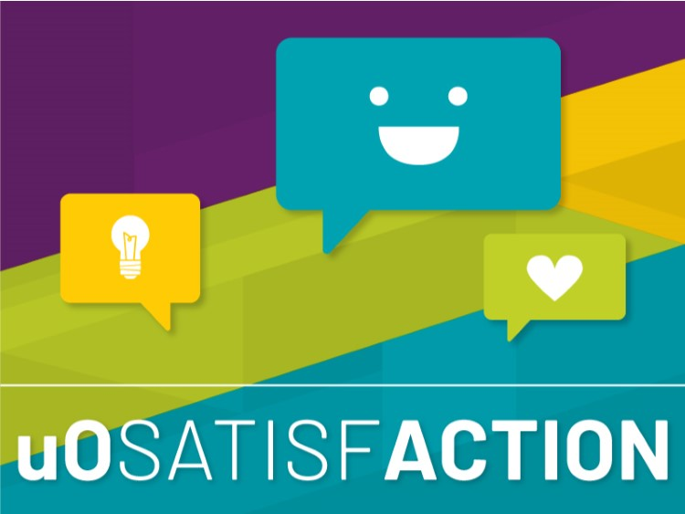 uoSatisfACTION with three speech bubbles containing a smiley face, a heart and a lightbulb.