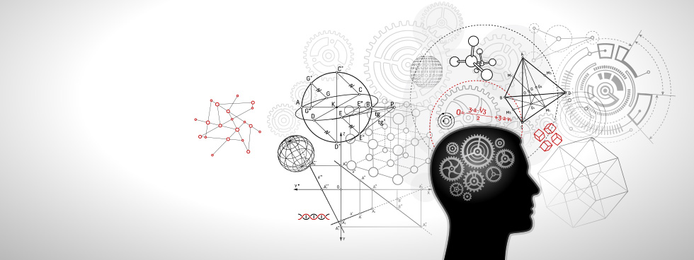 Silhouette of a head is surrounded by mathematic and scientific symbols.
