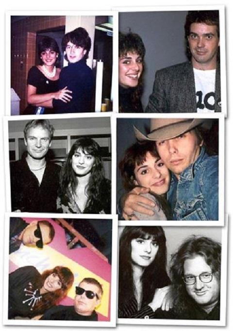 Collage de six petites photos présentant Erica avec Bono, Sting, Pet Shop Boys, JD Roberts, Dwight Yoakam et Tim Thorney.