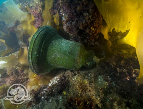 Underwater image of the HMS Erebus ship's bell lying on its side in seaweed.