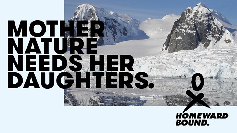 "Homeward Bound postcard shows snow-covered cliffs and the tagline ""Mother Nature needs her daughters."""