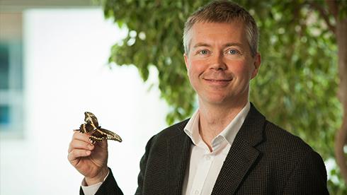 Jeremy Kerr, smiling, holds a butterfly specimen.