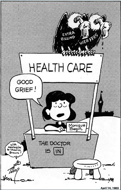 "Cartoon character Lucy says ""Good Grief!"" as she sits behind a Monique Bégin name card in a booth labelled ""Health Care."" Two vultures, labelled ""Extra Billing"" and ""User Fees,"" sit on top of the booth, which displays a sign saying ""The Doctor Is In."""