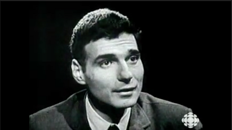 Ralph Nader on black and white television, with the CBC logo in the frame.