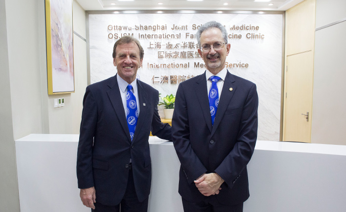 uOttawa President Allan Rock and Jacques Bradwejn, dean of the Faculty of Medicine, inside the new clinic