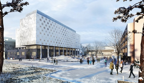 Artist's rendering of an attractive new building with light snow on the ground and people walking by.