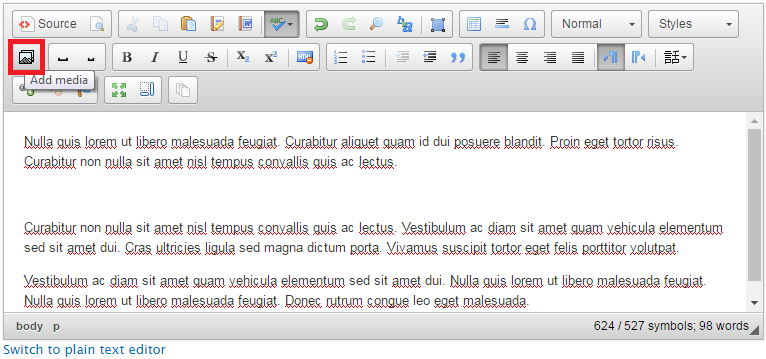 Adding images directly to the text editor [CKEditor] | Web at