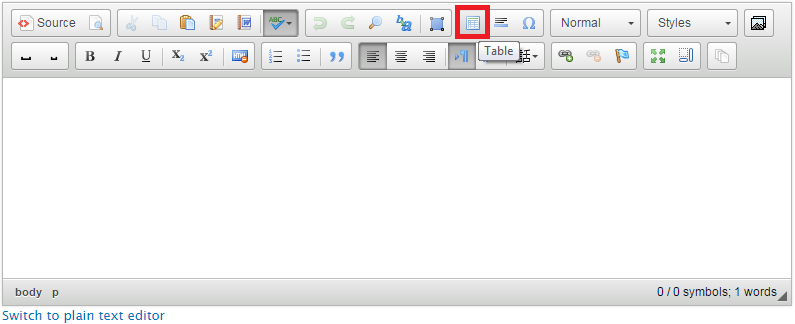 Clicking on the table icon in the toolbar