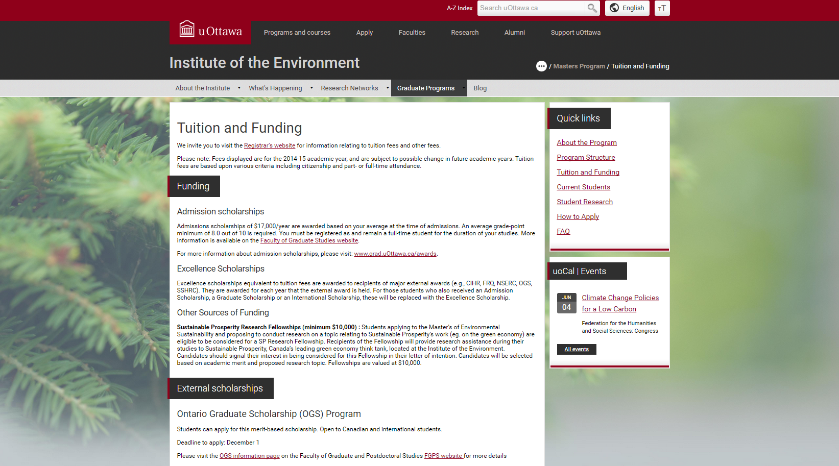 Example of a website using a dynamic background image