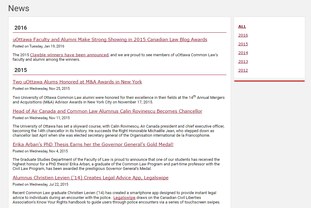 Example of a news page rendered with a Dynamic Content List