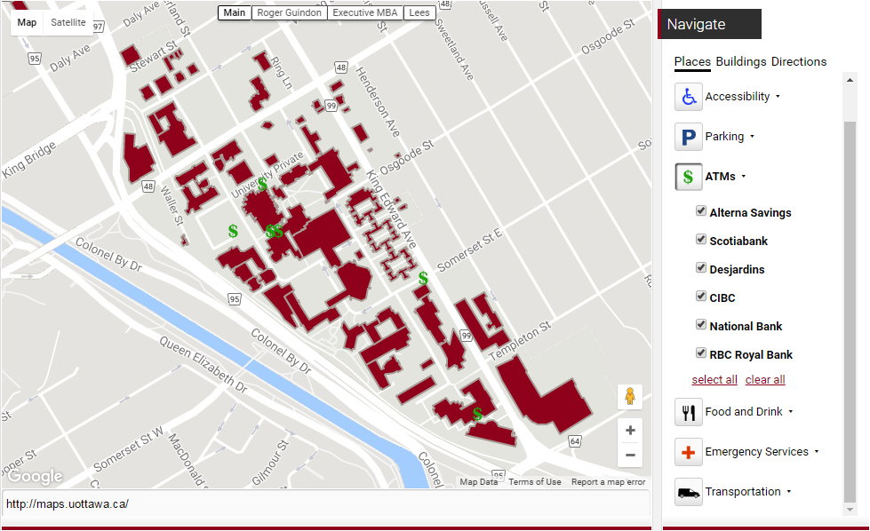 Example of the uOttawa map widget as used on the Maps website