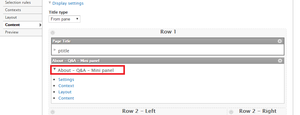 Accessing a mini panel through the panel page interface