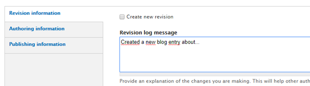Adding a revision message