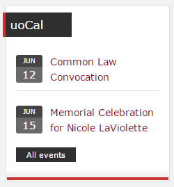 Example of a uoCal widget showing how events are rendered on a site