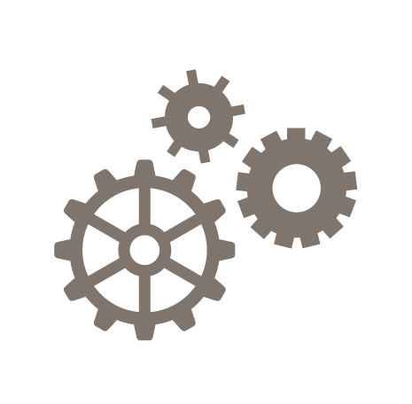 Gear icons representing maintenance and updates