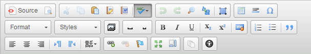 The full text editor toolbar and its buttons
