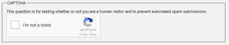 Example of a CAPTCHA challenge on a form